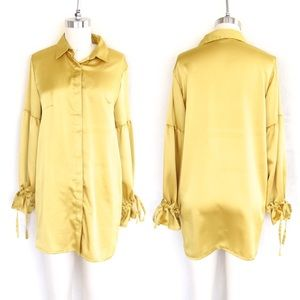 Yellow Lantern Sleeve Blouse